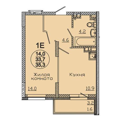 Вариант №3056, 1-комнатная квартира в жилом комплексе