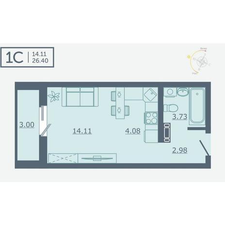 Вариант №4759, 1-комнатная квартира в жилом комплексе