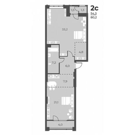 Вариант №5819, 2-комнатная квартира в жилом комплексе