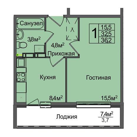Вариант №3891, 1-комнатная квартира в жилом комплексе