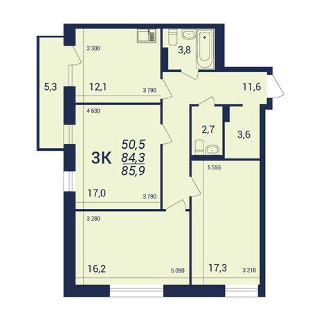 Вариант №3924, 3-комнатная квартира в жилом комплексе NOVA-дом