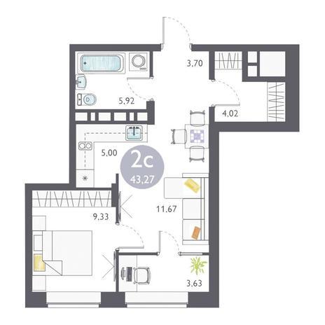 Вариант №3355, 2-комнатная квартира в жилом комплексе Ясный берег