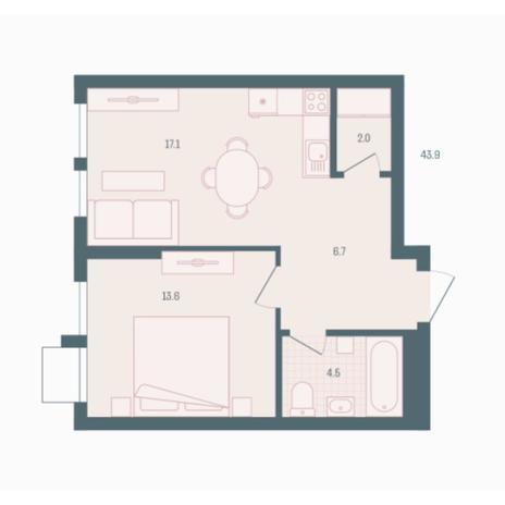 Вариант №5919, 1-комнатная квартира в жилом комплексе