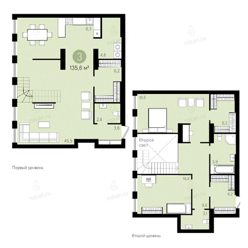Планировка 3-комнатная площадью 135.6 м<sup>2</sup> в ЖК Европейский Берег