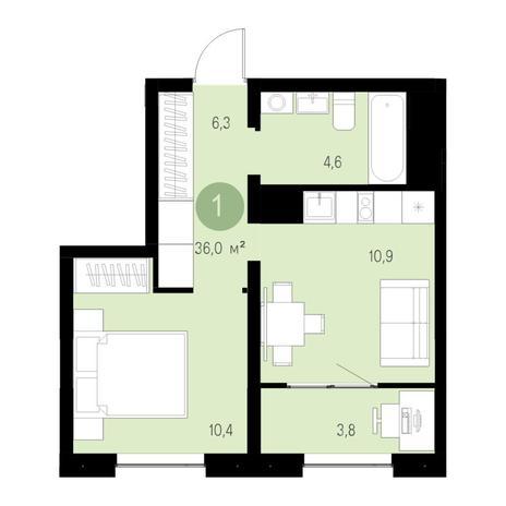 Вариант №4694, 1-комнатная квартира в жилом комплексе Акварельный 3.0