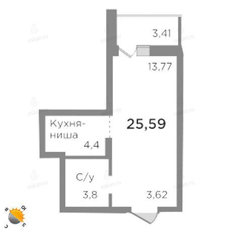 Вариант №1787, 1-комнатная квартира в жилом комплексе