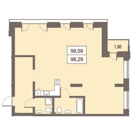 Вариант №2870, 4-комнатная квартира в жилом комплексе Жуковка