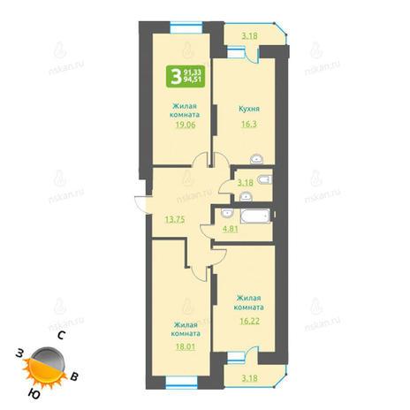 Вариант №1220, 4-комнатная квартира в жилом комплексе