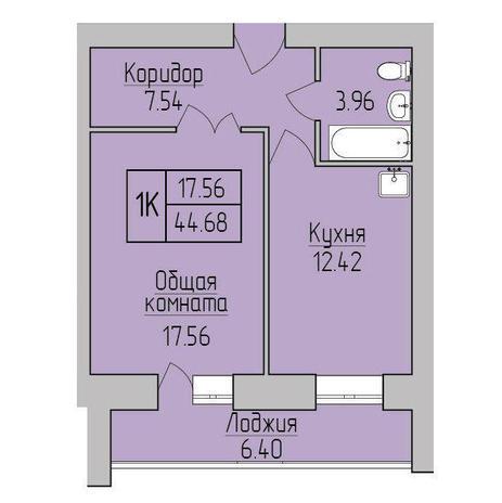 Вариант №3840, 1-комнатная квартира в жилом комплексе Дивногорский