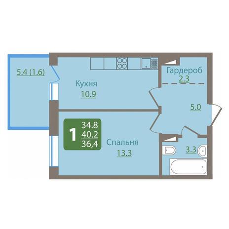 Вариант №3033, 1-комнатная квартира в жилом комплексе Пифагор