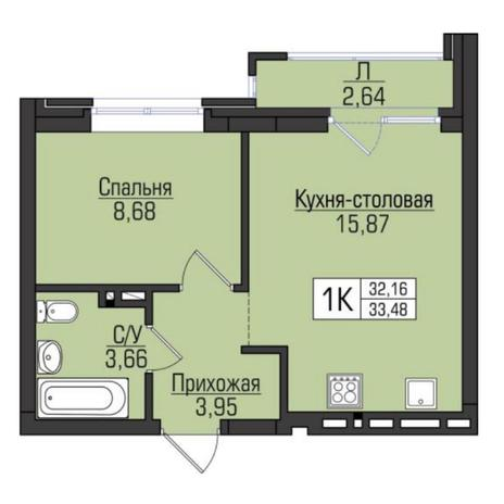 Вариант №5100, 2-комнатная квартира в жилом комплексе