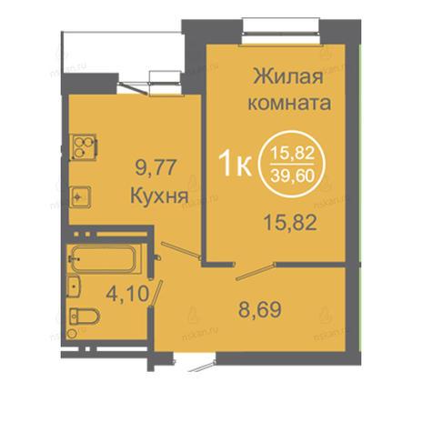 Вариант №2419, 1-комнатная квартира в жилом комплексе
