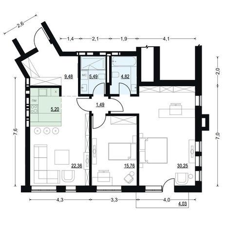 Вариант №2708, 2-комнатная квартира в жилом комплексе На Декабристов