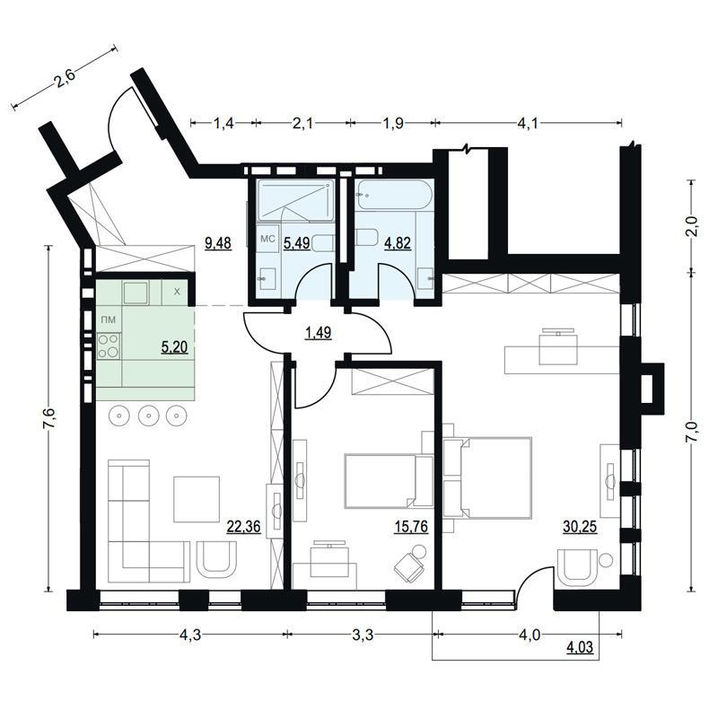 Планировка 2-комнатная площадью 94.85 м<sup>2</sup> в ЖК Жуковка