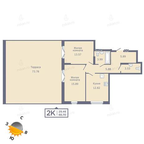 Вариант №1349, 2-комнатная квартира в жилом комплексе