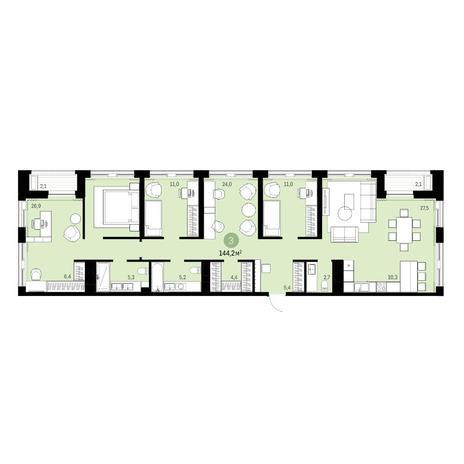 Вариант №6314, 6-комнатная квартира в жилом комплексе