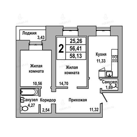 Вариант №1031, 2-комнатная квартира в жилом комплексе ГринАрт