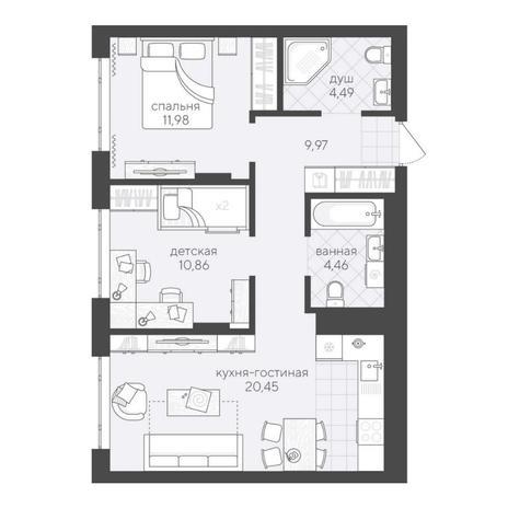 Вариант №6192, 3-комнатная квартира в жилом комплексе