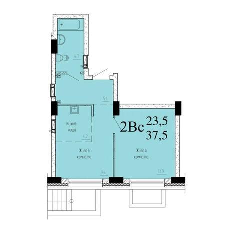 Вариант №6532, 2-комнатная квартира в жилом комплексе