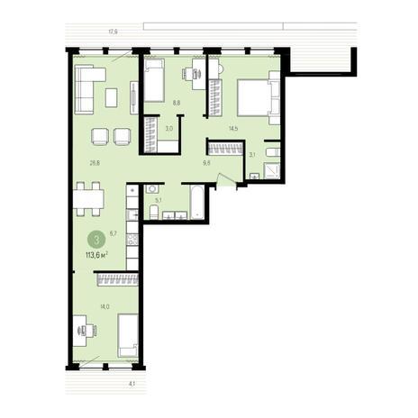 Вариант №5007, 4-комнатная квартира в жилом комплексе Пшеница