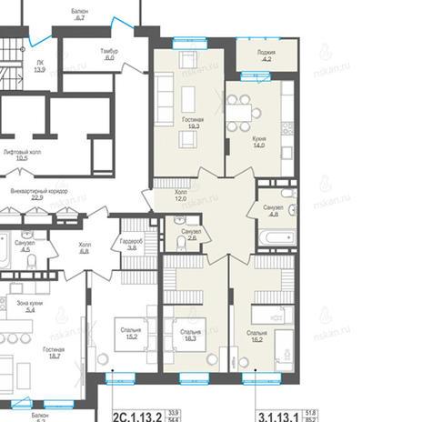 Вариант №861, 3-комнатная квартира в жилом комплексе Пифагор
