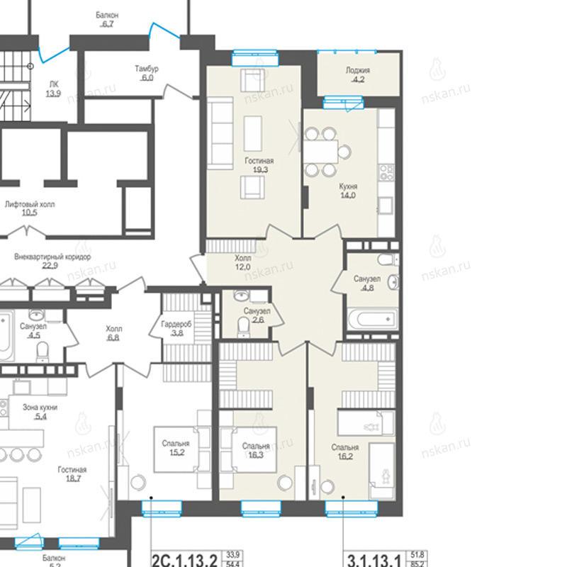 Планировка 3-комнатная площадью 85.2 м<sup>2</sup> в ЖК Пифагор