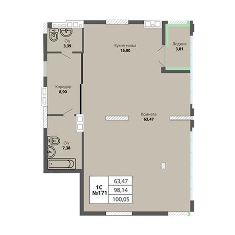 Вариант №2978, 3-комнатная квартира в жилом комплексе