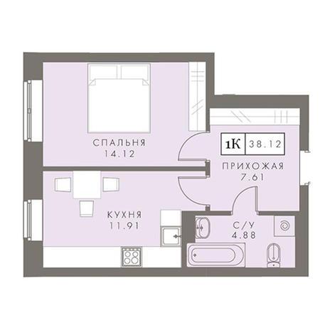 Вариант №2877, 1-комнатная квартира в жилом комплексе Приозерный