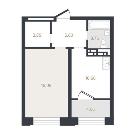 Вариант №3320, 1-комнатная квартира в жилом комплексе