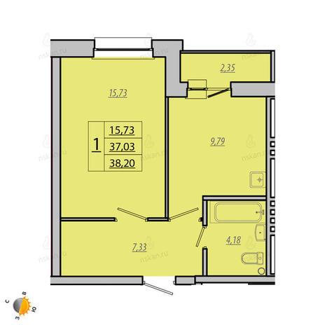 Вариант №1931, 1-комнатная квартира в жилом комплексе