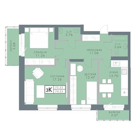Вариант №2837, 3-комнатная квартира в жилом комплексе
