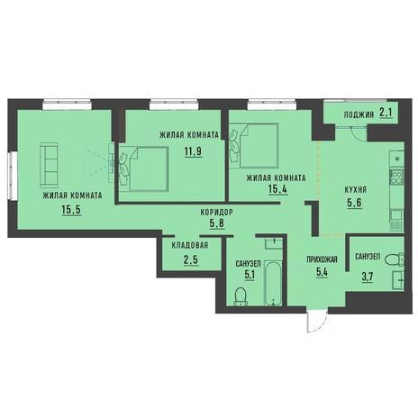Вариант №4193, 3-комнатная квартира в жилом комплексе