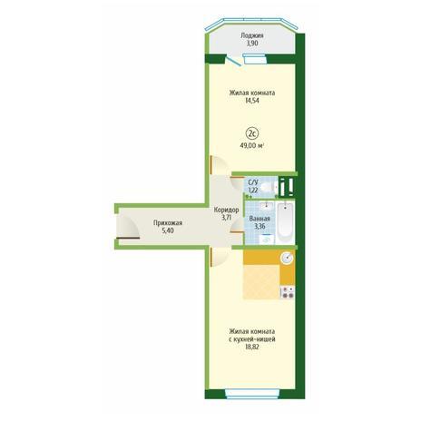 Вариант №6101, 2-комнатная квартира в жилом комплексе