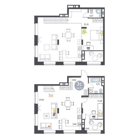 Вариант №3373, 3-комнатная квартира в жилом комплексе