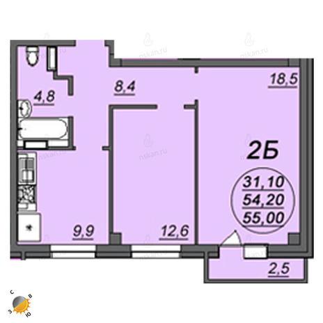 Вариант №2358, 2-комнатная квартира в жилом комплексе Аэропорт