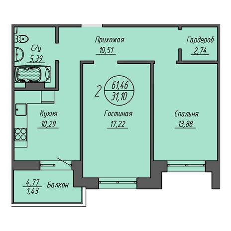 Вариант №3202, 2-комнатная квартира в жилом комплексе Бульварный переулок