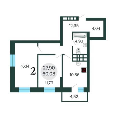 Вариант №5627, 2-комнатная квартира в жилом комплексе