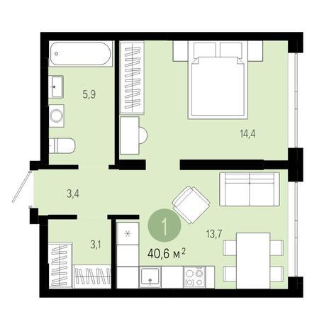 Вариант №4599, 2-комнатная квартира в жилом комплексе Заельцовский