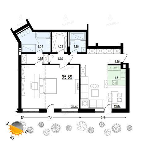 Вариант №906, 2-комнатная квартира в жилом комплексе Жуковка