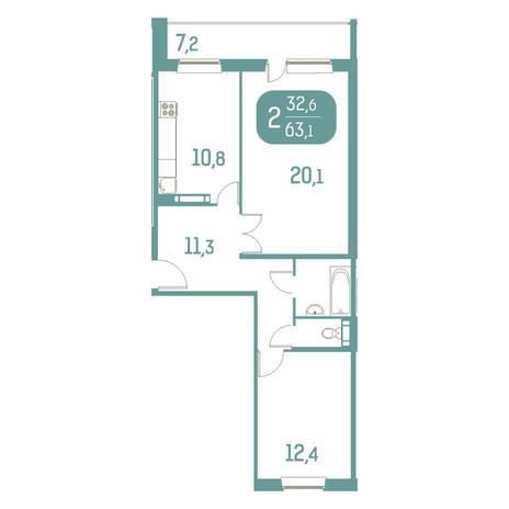 Вариант №2900, 2-комнатная квартира в жилом комплексе Спектр
