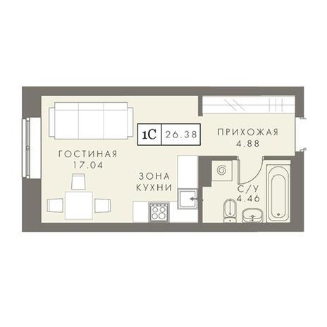 Вариант №2875, 1-комнатная квартира в жилом комплексе Чистая Слобода