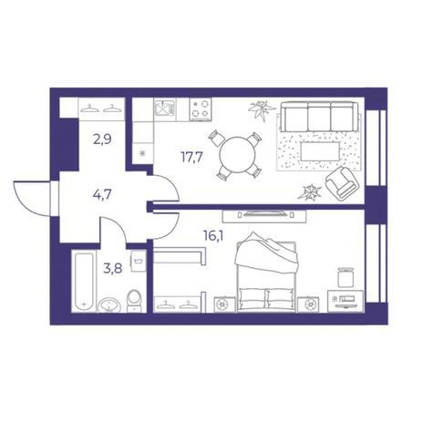 Вариант №5304, 2-комнатная квартира в жилом комплексе
