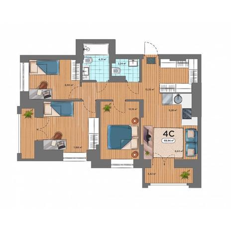 Вариант №5169, 4-комнатная квартира в жилом комплексе Шесть звезд