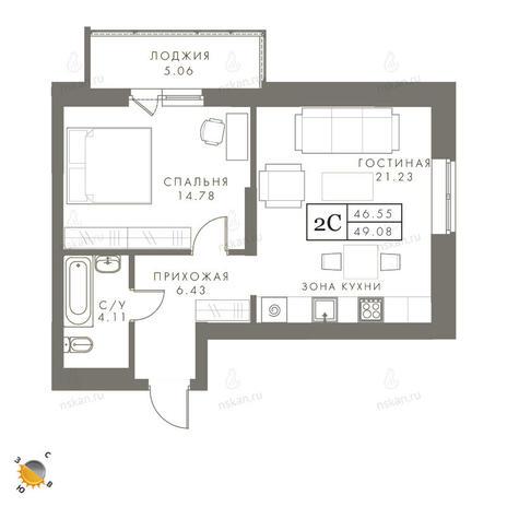 Вариант №2451, 2-комнатная квартира в жилом комплексе Эрмитаж