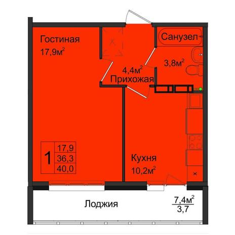 Вариант №5028, 1-комнатная квартира в жилом комплексе