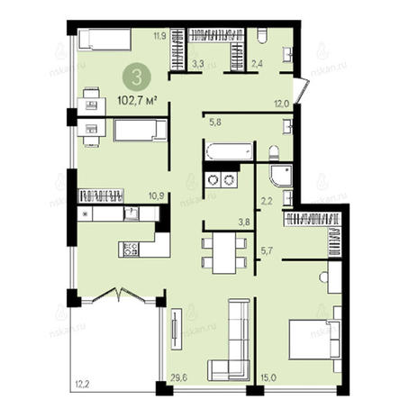 Вариант №2602, 4-комнатная квартира в жилом комплексе Квартал на Никитина