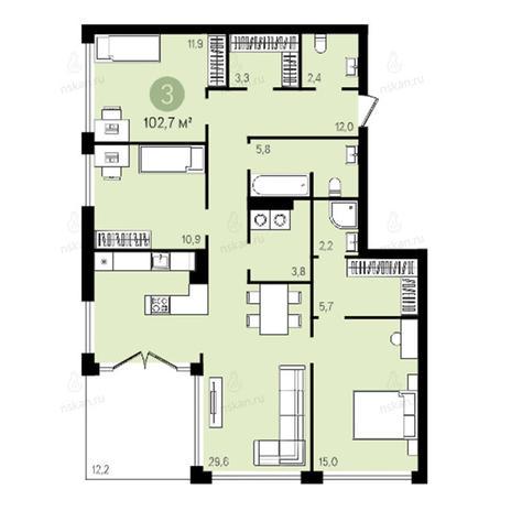 Вариант №2602, 4-комнатная квартира в жилом комплексе