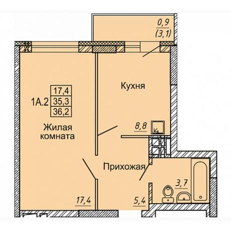 Вариант №4969, 1-комнатная квартира в жилом комплексе
