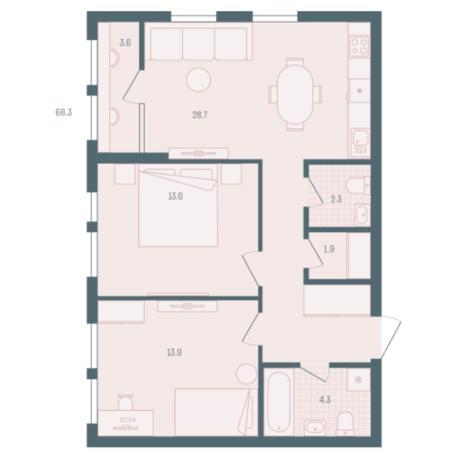 Вариант №5929, 2-комнатная квартира в жилом комплексе
