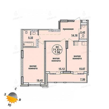 Вариант №866, 3-комнатная квартира в жилом комплексе Заельцовский